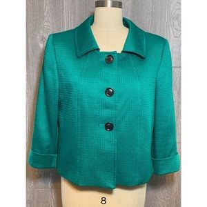 Tahari Emerald Green Jacket Size 14P Petite